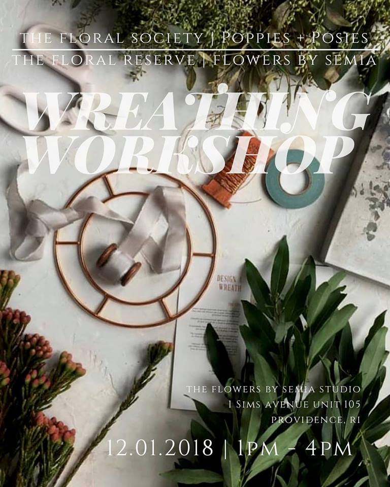 Excited to announce that Sierra from The Floral Society + Poppies and Posies is coming back to RI to put her spin on wreathing with her new